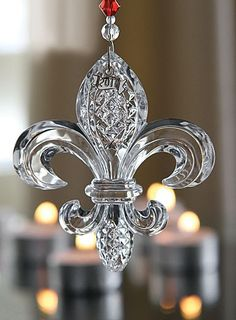 Waterford Crystal ~ Christmas ornament. Fleur de lis ~ Gorgeous