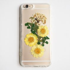 FREE SHIPPING - The yellow daisy pressed flower bumper phone case - FREE SHIPPING (押し花電話ケース)