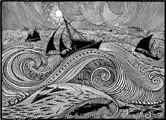 René Quillivic (French, 1879-1969), En pleine mer, 1921. Wood engraving, 22 x 31 cm.