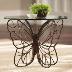 This gorgeous Monarch Butterfly Side Table has the seal of fairy approval. Its delightfully delicate-looking wings are actually forged iron for a rustic cottage look. Butterfly Table, Monarch Butterfly, Fine Furniture, Garden Furniture, Small Furniture, Contemporary Side Tables, Cool Tables, Rustic Cottage, Garden Table