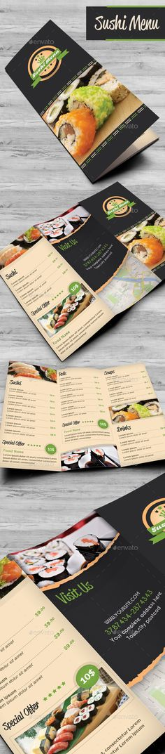 Sushi Food Menu Template PSD #design Download: http://graphicriver.net/item/sushi-food-menu/14168015?ref=ksioks