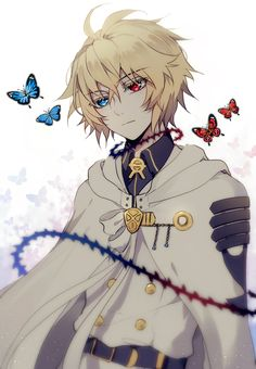 Anime heterochromia / odd eyes blue red (Hyakuya Mikaela owari no seraph)