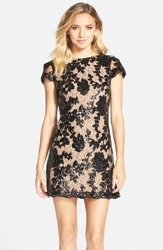 Free shipping and returns on Dress the Population 'Hope' Lace Sheath Dress at Nordstrom.com. Sequined flowers and a gently scalloped hemline underscore the eye-catching romance of a curve-skimming sheath dress with a plunging V-back.