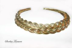 Unique Elegant Copper And Brass Gold Wire Weave Woven Choker Necklace Vintage