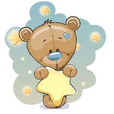 Cute Cartoon Teddy Bear vector image on VectorStock Baby Cartoon, Cute Cartoon, Bear Vector, Sewing Baby Clothes, Blue Nose Friends, Brown Teddy Bear, Star Background, Baby Nursery Themes, Belly Painting