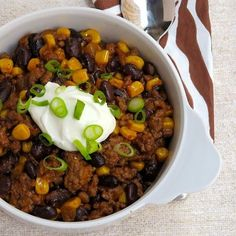 Corn and black beans are a natural combination of flavors and textures for this ready-in-minutes chili.