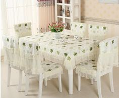 European rural lace cloth art maple leaf style universal dining table cloth with chair cover cushion set