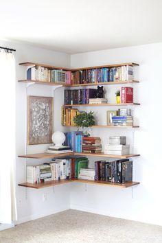 cool wood corner shelves, with art niche