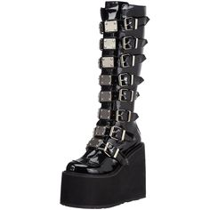 DEMONIA Women's SWING-815 Black Pat Vegan Boots