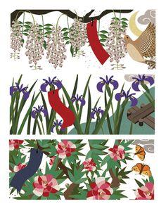 The most beautiful hanafuda deck ever made. kelsey cretcher hanafuda illustration (april -june)