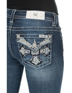 Miss Me Women's Medium Wash with Embroidered Cross Flap Pocket Boot Cut Jeans | Cavender's