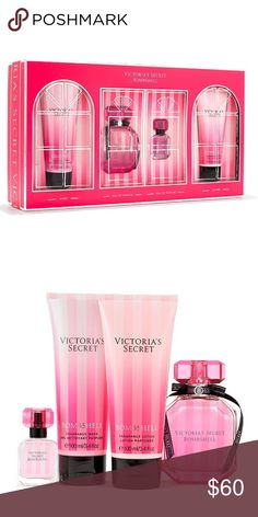 NWT Victoria's Secret Bombshell Gift Set Brand new in original box Bombshell Victoria's Secret number 1 selling Fragrance scent gift set. Warmer weather calls for soft, sexy skin. Award-winning fragrance is wrapped and ready, with four luxe essentials in a glam gift box. Fragrance type: Fruity floral Notes: Purple passion fruit, Shangri-la peony ad vanilla orchid Includes: Eau de Parfum: 50 ml/1.7 fl. oz. Mini Eau de Parfum: 7.5 ml/.25 fl. oz. Fragrance Lotion: 100 ml/3.4 oz. Fragrance Wash…