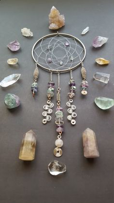 Wire Dreamcatcher Wired Dream Catcher Fluorite by WireMoonJewelry