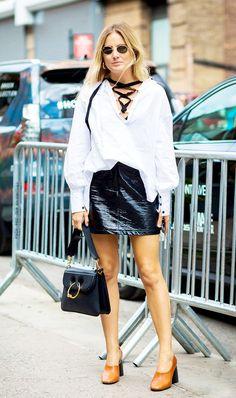 5Ways to Wear aLeatherSkirt in Summer via @WhoWhatWear