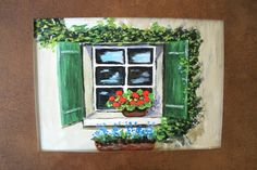 Window with Geraniums original painting matted Not by MARVINSTUDIO, $5.20 Great for Christmas