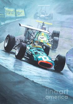 Painting - 1968 German Gp Nurburgring by Yuriy Shevchuk , Classic Race Cars, Old Classic Cars, Exotic Sports Cars, Exotic Cars, Dope Cartoon Art, Car Drawings, Automotive Art, Sports Art, Car Painting