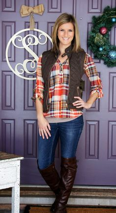 I love her cute plaid shirt and I have a brown vest already too.  It looks Fallish to me.  Very cute with the tall brown boots like I already have too!  ❤️