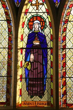 Stained glass portrait of Saint Brigid from Saint Brigid's Church, Castleknock