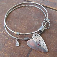 Silver Bangle Bracelet Charm Bangle Bracelet Mixed Metal от artdi