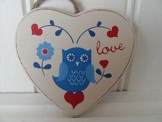 OWL FOLK ART LOVE HANGING LOVE HEART PLAQUE CHIC N SHABBY