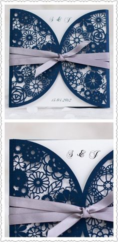 elegant laser cut lace wedding invitations inspired by navy blue and gray wedding color ideas