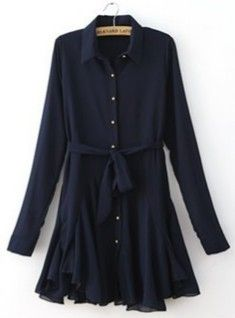 Navy Chiffon Long Sleeve Drawstring Pleated Dress