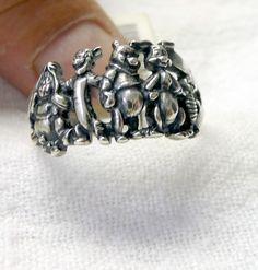 NOS Vintage Walt Disney WINNIE THE POOH & FRIENDS Sterling Silver Ring sz 5 3/4