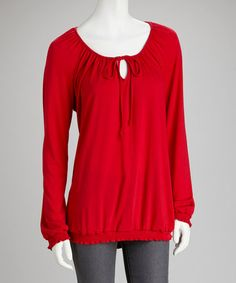Take a look at this Red Tie-Neck Peasant Top by Dynasty Fashions on #zulily today!