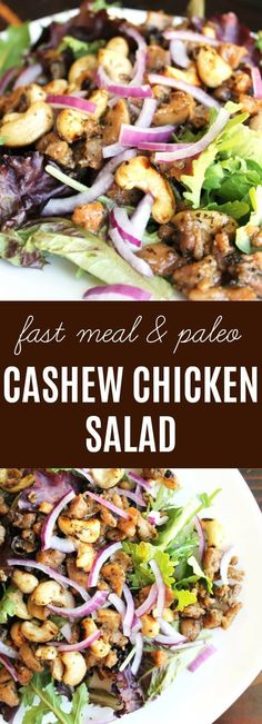 Cashew Chicken Salad: This is the most flavorful chicken I have ever made. It was an instant hit for the whole family, took less than 30 minutes to prepare, & tastes so great as leftovers that we don't even bother reheating it. Paleo. | thenourishedfamily.com
