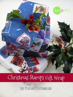 Free printable Christmas Stamps Gift Wrap - 3 different colours. Available from: http://artful-kids.com/blog/2014/12/12/postage-stamp-christmas-wrap/