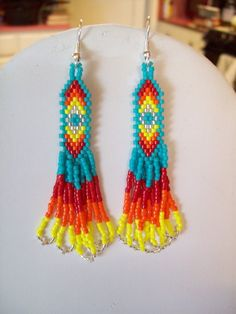 Native American Style Beaded Turquoise and Silver Earrings Southwestern, Boho, Hippie, Great Gift Counrty and Western, Brick Stitch, Gift