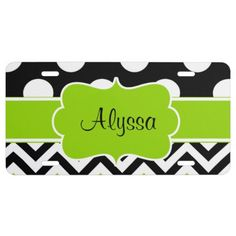 Black Green Dots Chevron Personalized License Plate: Show off your style in a fun way with this black and green polka dots and chevron personalized design. #dots #chevron #limegreen #personalize #licenseplate #girly