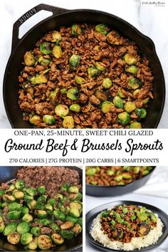 If you're a fan of simple low calorie meals, you'll love this sweet chili ground beef and brussels sprouts skillet. You'll only need 4 ingredients (not counting spices) and one pan! calorie dinner Sweet Chili Ground Beef and Brussels Sprouts Skillet Low Calorie Dinners, No Calorie Foods, Low Calorie Recipes, Ground Beef Chili, Healthy Ground Beef, Ground Venison Chili Recipe, Healthy Beef Recipes, Healthy Low Calorie Meals, Chili Recipes