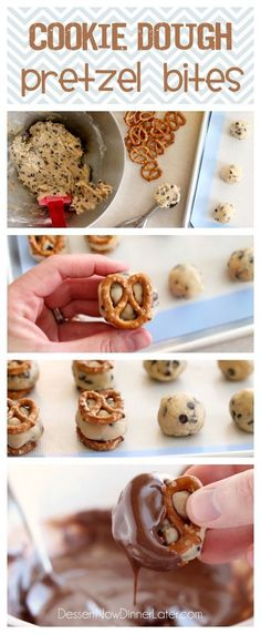 These Cookie Dough Pretzel Bites are made with eggless cookie dough, that's sandwiched between two pretzels, and dipped in chocolate! Eating cookie dough at it's finest! From DessertNowDinnerLater.com