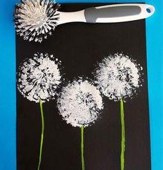 Maskrosteckning: doppa diskborsten i vit färg, måla på en stjälk