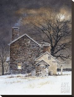 Blue Moon Stretched Canvas Print by Ray Hendershot at Art.com