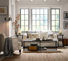 A beautiful and neutral living room. #potterybarn