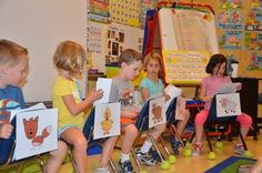 Simple Reader's Theater - used the chairs to identify the characters -such a great idea! (Free Reader's Theater script available at this site.)