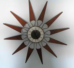 elgin mid century wall clock | Vintage Mid Century MOD STARBURST Elgin Wall Clock~Metal & Wood 28 ...