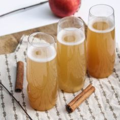 Spiced Apple Cider Champagne Cocktails  - Perfect for Thanksgiving morning. :)