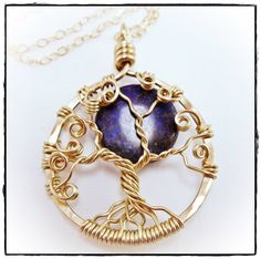 14K Gold Filled Blue Moon Tree of Life Necklace Tree by TTJJewelry, $170.00