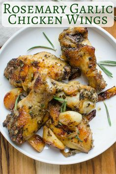 This easy baked chicken wings recipe has marinade seasonings that make the flavors really pop! With sweet roasted garlic, fresh rosemary, spicy red pepper flakes and grilled onions, these chicken wing Easy Baked Chicken Wings, Roasted Chicken Wings, Chicken Wing Recipes, Lemon Pepper Chicken Wings Recipe Oven, Baked Wings Recipe, Oven Baked Chicken Wings, Paleo, Keto, Sin Gluten