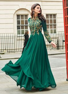 Emerald Green Sadi Arabia Long Chiffon Evening Dresses With Sleeves Anarkali Dress, Pakistani Dresses, Indian Dresses, Indian Outfits, Choli Dress, Bollywood Dress, Sari Blouse, Ivory Dresses, Dresses Dresses