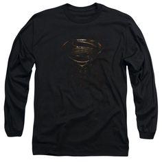 Man Of Steel/Mos Glyph Shield Long Sleeve Adult T-Shirt 18/1 in