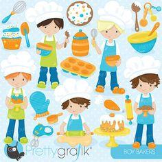 baking boys clipart commercial use vector by Prettygrafikdesign