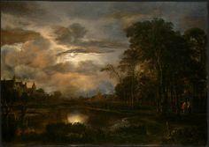 Aernout Van der Neer Dutch painter - 1603 - 1677 Moonlit Landscape with Bridge - 1648-50