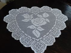 Hand Crochet One  Heart White Doily by mariettanova on Etsy, $112.00