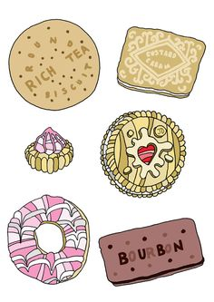 Image: Biscuits Information: Andrew's inspiration came from the Japanese culture. Whether it's huge cityscapes, a bottle of ketchup or even a delicious biscuit, he is constantly striving to document these things in a bright and striking manner. Food Illustrations, Illustration Art, Iced Gems, Rich Tea, Tea Biscuits, Kitchen Prints, Food Drawing, Food Art, Eat Cake