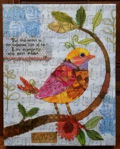 Bird paper napkin collage by Jean