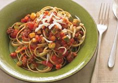 Linguine Bolognese  With sweet tomatoes and tomato paste forming the base of the sauce, and oregano, onion, and garlic layered on top, you'll never guess how little salt is in this yummy yet ever-so-simple pasta with meat sauce.
